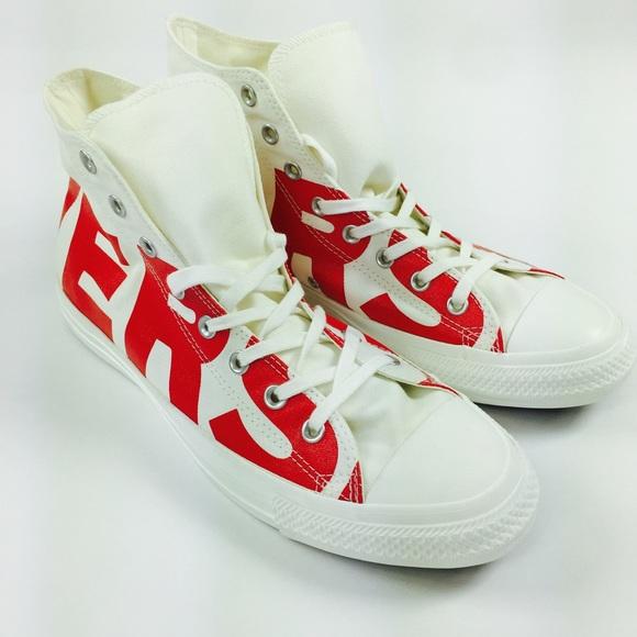 2e8b519e6dbb Converse All Star Hi shoes spellout M 12 W 14 red